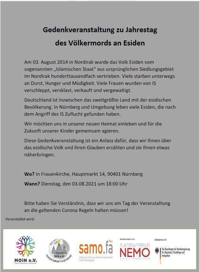 Gedenkveranstaltung zu Jahrestag   des Völkermords an Esiden